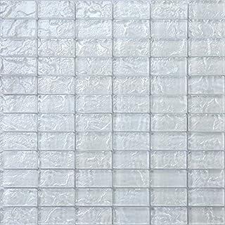 Grand Taps White Textured Lava Glass Brick Mosaic Tiles Sheet (MT0118) (1 Sheet)