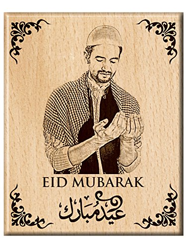 Engraveindia Unique Gift for Eid for Dear One's- Personalise Engrave Wooden Photo...