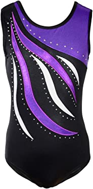 Happy Cherry Kids Girls Shiny Waves Metallic Gymnastics Leotard Athletic Dance Sports Tank Tops Dnacewear Outfit
