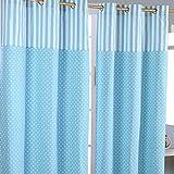 Homescapes Kindervorhang Junge Kinderzimmer Ösenvorhang Dekoschal Polka Dots 2er Set blau weiß 137 x 228 cm (Breite x Länge je Vorhang) 100% reine Baumwolle