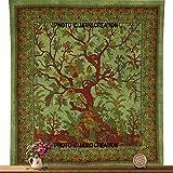 Wandteppich, Motiv: Baum des Lebens, indische Baumwolle, Mandala, Queen Size, 84 x 90 cm, 100 % Baumwolle, Tapisserie-Baumwolle, Bettüberwurf