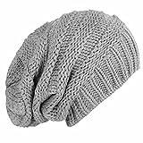 caripe Mütze Long Beanie Strickmütze - viele Farben und Modelle - Snö (visk-long - grau)