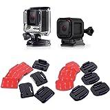 micros2u (Pack de 16) Almohadillas Adhesivas 3M de doble cara. Kit de soportes planos y curvados. Compatibles con GoPro HERO