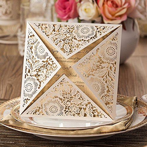 Laser taglio stile europeo vendita calda fiore modello foglio di carta carta biglietti d' invito di matrimonio, con interno
