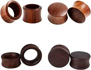 Tbosen - Set di 4 paia di dilatatori in legno per piercing all'orecchio, a doppia svasatura