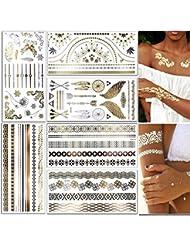 CXvwons Tatouages éphémères métalliques brillants, pour adulte enfants femme homme, bras poignet body tattoo Sticker pour vacances plage party cadeau motifs variés 6 feuilles