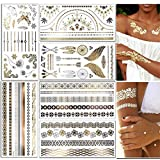 CXvwons Flash Tattoos, Metallic Tätowierung Temporäre Tatoos Wasserdicht Festival Körper Tattoo in Gold und Silber für Mädchen und Frauen Body Art, 6 Sheets (Gold/Silber/Schwarz-6 Sheets)