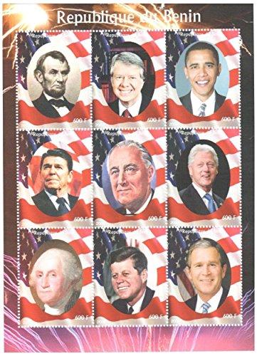 US-Präsident Briefmarken für Sammler - 9 postfrische Briefmarken der amerikanischen Präsidenten - Nicht montierte und aus den Angeln gehoben -