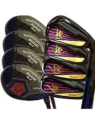 Generic Japón Wazaki negro acabado wl-iis hierros 4-SW Combo híbrida USGA R A reglas Golf Club Set + Funda (paquete de 16, Regular Flex)