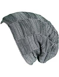 Mevina Strickmütze Flecht Muster mit weichem Fleece Innenfutter Unisex long Beanie Mütze Slouch Herbst Winter