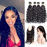"""Maxine Water Wave 360 Lace Frontal Closure With 3 Bundles Malaysian Wet and Wavy Human Hair With 360 Lace Band Frontal Pre Plucked Unprocessed Human Hair(22""""24""""26"""" with 360 frontal 18"""")"""