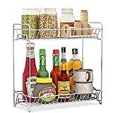 OOFO Gewürzregal, Küchenregal mit 2 Etagen Metall Aufbewahrungsregal Kleines für Flasche, Gläser und Dose Organizer Regal Edelstahl für Gewürze und Kräuter