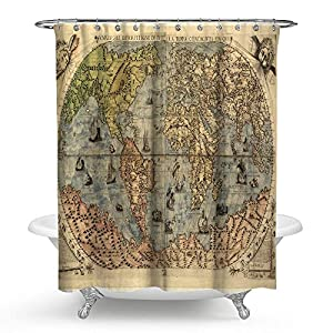 kisy antiguo mapa del mundo impermeable cortina de ducha de baño brújula antiguo arte mundial histórico educativo arte mapa del mundo baño cortina de ducha tamaño estándar 70«x 70,» vintage