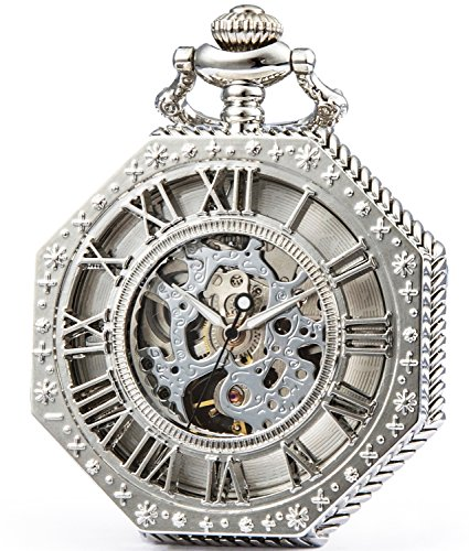 SEWOR Octagon Old School Style Hollow Roman Numerals Mechanical Hand Wind Pocket Watch (Silver)