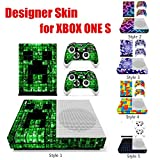 Rishil World Colorful Grid Series Designer Skin for Xbox ONE S Gaming Console + 2 Controller Sticker