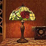 Gweat Tiffany 16 Pouces Style Pastoral Stained Glass Rose Série Lampe De Table Chambre Lumière
