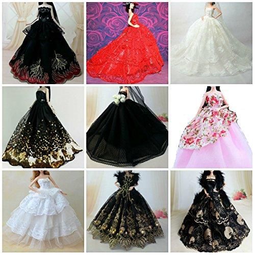 BC-52 Schöne und modische handgefertigte elegante schöne Hochzeit Abend-Partei-Kleid für Barbie Puppe(Puppen nicht im Lieferumfang enthalten) (3er (Meerjungfrau Kostüme Mädchen Geheimnisvolle)