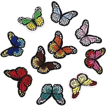 Westeng - Set di 10 toppe termoadesive o da cucire per abiti con disegno di  farfalla 7fdbf014168c