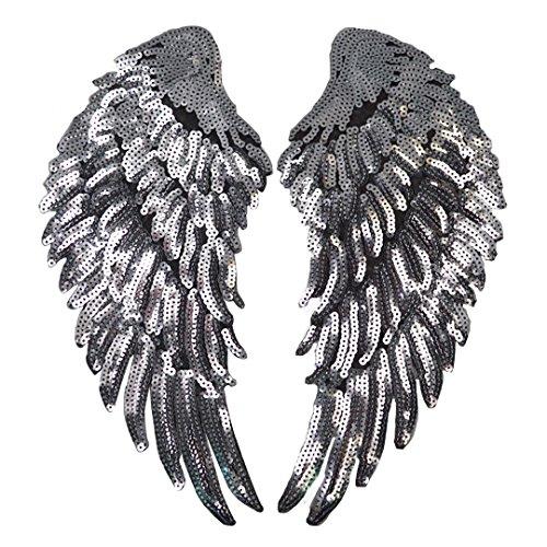 elbild Aufbügler Bügeleisen auf Patches Applikation Engel Flügel Muster 2er für T-Shirt Jeans Kleidung Taschen ()