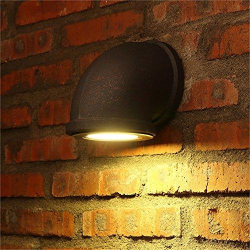HOIHO American Industrie Wind LED Wasser Rohr Wand Lampe Persönlichkeit Rost kreative Restaurant Café Net Café Gang Scheune Garage Eisen Wandleuchte (Size : S) -