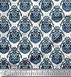 Soimoi Blau Viskose Chiffon Stoff Vogel & orientalische
