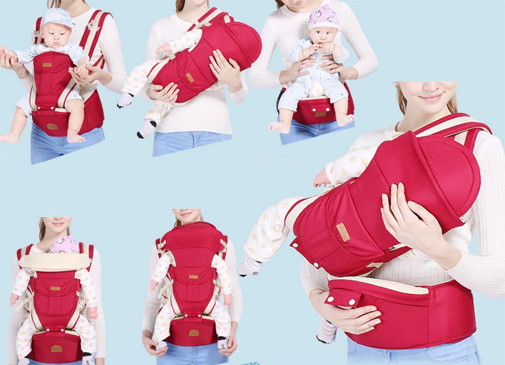 Multifunctional Baby Waist Stool 6 in 1 Baby Carrier Detachable Hip Joint Wide Shoulder Strap Easy and Effort babao 【Perfect for All Seasons】100% organic cotton and breathable mesh material make it soft and comfortable for you and baby skin. Adjustable and demountable temperature-regulation anti-wind hood allows you to keep cooling or warm as you need 【many Carrying Positions and Many Usages】many or out ward facing with or without the hip seat and as a hip seat for infants with the mom or dad detached.Besides, more positions can be allowed as pictures show 【Multifunctional & Adjustable Baby Carrier】Ergonomic positioning of baby seat allows baby's thighs to be supported to the knee joint. The forces on the hip joint are minimal because the legs are spread, supported, and the hip is in a more stable position. Also provides carrying comfortable for adults with wide adjustable lumbar support belt with Velcro and buckle for added safety and strength, and wide adjustable shoulder straps to accommodate both forward and rear positions 5
