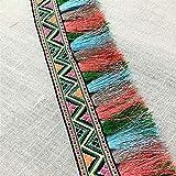 Cinta de encaje con flecos bohemios de arcoíris para costura, manualidades, accesorios de disfraces, bricolaje, 5 cm x 5 yardas 5cmX5yards verde
