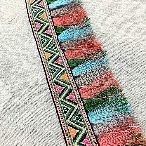 Cinta de encaje con flecos bohemios de arcoíris para costura, manuali