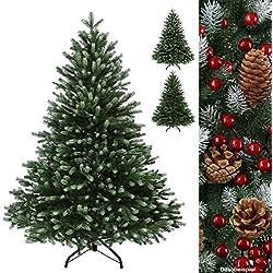 Árbol de Navidad de lujo WINTERZAUBER Abeto de Navidad artificial en diferentes tamaños y colores 100% plástico PE inyectado, Color:verde oscuro - azúcar glas;Longitud:120 cm (360 puntas)