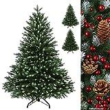 Luxus Christbaum WINTERZAUBER künstlicher Weihnachtsbaum PE Spritzguss Tannenbaum in verschiedenen Größen und Farben inkl. Standfuß künstliche Tanne , Farbe:Dunkelgrün-Puderzucker;Höhe:150 cm (530 Spitzen)
