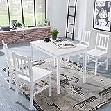 FineBuy Esszimmer-Set Emilio 5 teilig Kiefer-Holz weiß Landhaus-Stil 108 x 73 x 65 cm | Natur Essgruppe 1 Tisch 4 Stühle | Tischgruppe Esstischset 4 Personen | Esszimmergarnitur Massiv