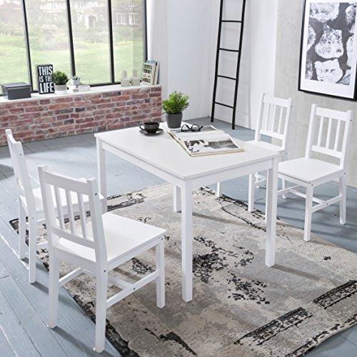 Holz Esszimmer-set (FineBuy Esszimmer-Set EMILIO 5 teilig Kiefer-Holz weiß Landhaus-Stil 108 x 73 x 65 cm | Natur Essgruppe 1 Tisch 4 Stühle | Tischgruppe Esstischset 4 Personen | Esszimmergarnitur massiv)