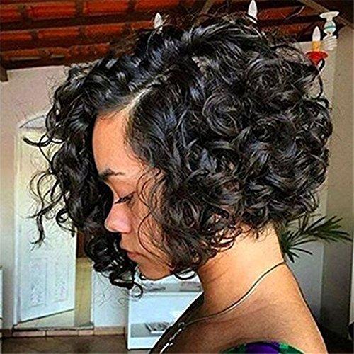Kurz Afro Gelockt Haar Perücken Zum Schwarz Frau Seite Trennen Natürlich Schwarz Farbe Synthetik Flauschige Fest Gelockt Hitze Beständig Perücken