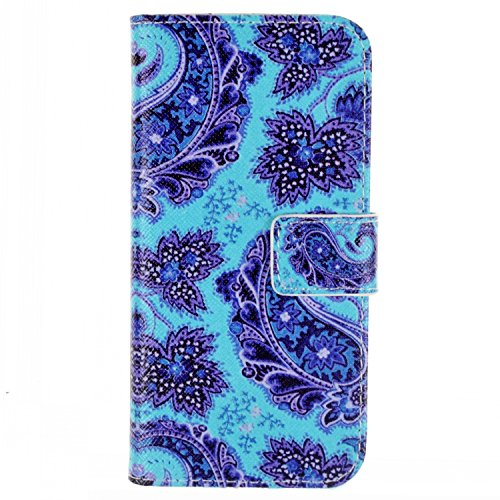 iPhone 6S plus Flip Hülle,iPhone 6 plus Case,iPhone 6S plus Tasche - Felfy Handytasche für Apple iPhone 6 / 6S plus Vintage Mond Liebe Vogel Stil mit Ständer Halter Card Slot Magnetic Button PU Leder  Blau Blume