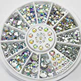 Nail Art Decoration White Rhinestones Glitters Acrylic Decoration Wheel for Nails Art Design Tools by Clest F&H