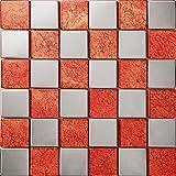 Mezcla de cristal de acero inoxidable mosaico Color mezclado Azulejos de mosaico cuadrícula de mosaico Art Deco acero inoxidable mosaico 300*300mm Cocina backsplash / ducha de pared de la pared de la pared / Hotel pasillo pared de la frontera / piso residencial de piso y aplicaciones de la pared SA007-18 (1 pieza)