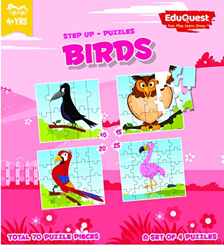 EduQuest - Jigsaw Puzzle - Birds - 4+ years old - Set of 4 puzzles - 10,15,20,25 piece puzzles - Crow(10 piece), Owl(15 piece), Macau(20 piece), Flamingo(25 piece)