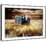 BFC616E gerahmtes Bild drucken Wandkunst - alt blau Traktor Feld Dämmerung Moderne Malerische Landschaft Wohnzimmer Schlafzimmer Stück Wohnkultur Leicht Hang Guide (86X61cm)