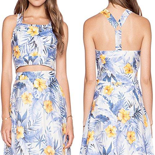 QIYUN.Z Imprime Floral Manches Y Dos Nu Nus Brassieres Femmes Mini-Tops De Veste Bleue Impression