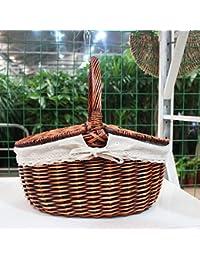 GWDZX Osier Rotin Jardin Panier Pique-nique Panier D'oeufs Des Paniers-cadeaux Des Paniers De Fruits Paniers Multi-couleur,C-38 28cm