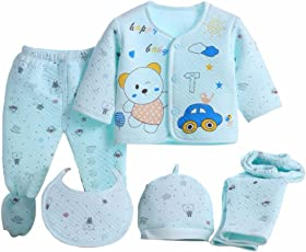 Miss U Newborn Baby High Quality Soft Feel Cotton Polyester Blend Top Pyjama With Cap And Bib Set For New Born Babies (0-3 Months )PRINT MAY VARY