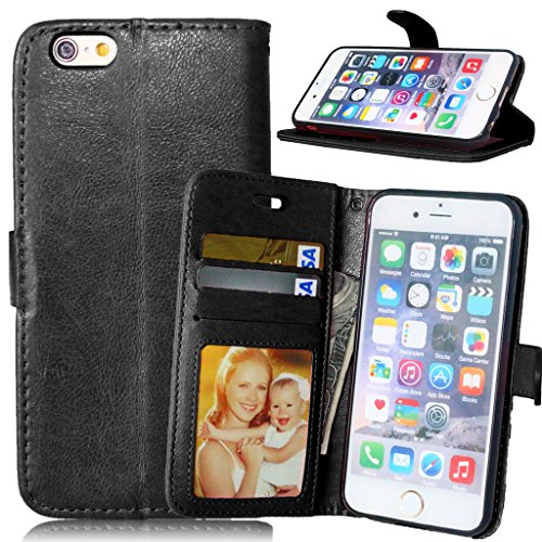 FUBAODA PU Cuir Folio iPhone 6s Case Coque Etui Étui Portefeuille Case Cover [Syncwire Câble Gratuit] Wallet avec Stand support Housse de Protection pour Apple iphone 6 6s (rose) Black