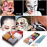 Pinturas Corporales y Cara, Luckyfine Body Paint, Maquillaje Halloween Carnaval Set, 12 Colores + 4...