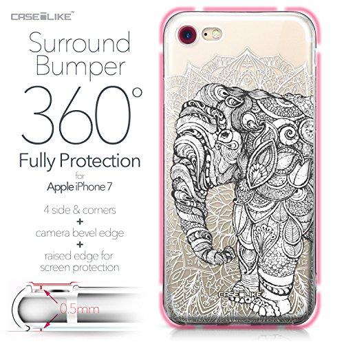 CASEiLIKE Coque iPhone 7 , Ultra Mince Crystal Case TPU Silicone Clair Transparente Exact Fit Soft Housse Etui Coque Pour iPhone 7 Art Mandala 2300
