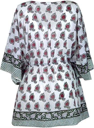 Guru-Shop Hippie Poncho, Kaftan, Tunika, Poncho Bluse, Damen, Baumwolle, Size:One Size, Tunikas Alternative Bekleidung Weiß/Grün