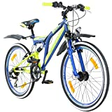 24 Zoll MTB Fully Galano Adrenalin DS Mountainbike STVZO Jugendfahrrad B-WARE, Farbe:dunkelblau -