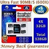 4 Tarjeta MicroSDHC 32GB y adaptador (Clase 10 UHS-I Micro SD Extreme Pro Memoria Card) 32 GB MicroSD SDHC ultra alta velocidad 90 MB/s 600X UHS-1. Transflash de 32G Amplim para móvil y tablet TF Plus