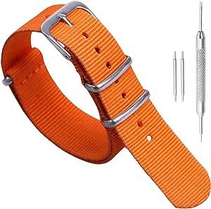 18mm 20mm 22mm 24mm Noir Vert Bleu Rouge Orange Beige Bracelet De Montre en Nylon Luxueux Durable Militaire Nylon Style OTAN Bracelets Bandes Remplacements pour Hommes