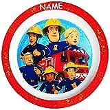 Unbekannt großer Teller - Kinderteller -  Feuerwehrmann Sam Jones  - inkl. Name - Ø 21,5 cm - aus Melamin / Kunststoff - BPA frei - tiefer Speiseteller / Frühstückste..
