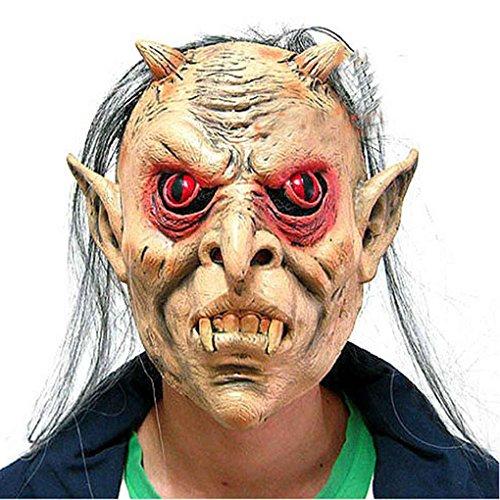 Latex Full Face Rote Augen Langes Haar Per¨¹cke Maske Halloween Toothy Zombie Cosplay Horror Masken